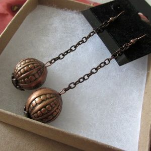Dangling Copper Artisan Sphere Earrings